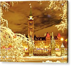 Holiday Ottawa - Parliament And Peace Tower Night Lights Acrylic Print