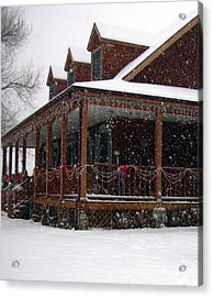 Holiday Porch Acrylic Print by Claudia Goodell