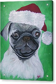 Acrylic Print featuring the painting Holiday Pug by Leslie Manley