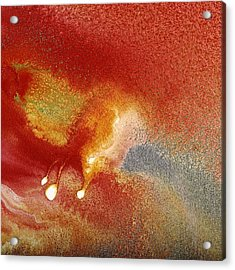 Holiday - Red Silver Gold Abstract Art By Kredart Acrylic Print