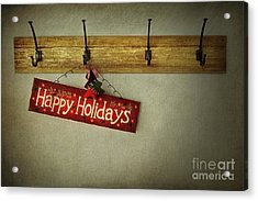 Holiday Sign On Antique Plaster Wall Acrylic Print