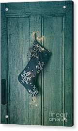 Holiday Stocking With Lights Hanging On Old Door Acrylic Print