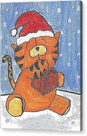 Holiday Tiger Acrylic Print by Fred Hanna