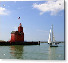 Holland Harbor Lighthouse With Sailboat Acrylic Print