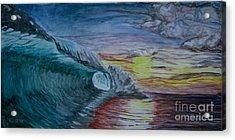 Hollow Wave At Sunset Acrylic Print
