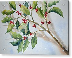 Holly In The Snow Acrylic Print