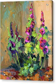 Hollyhocks At Giverny Acrylic Print by Diane McClary