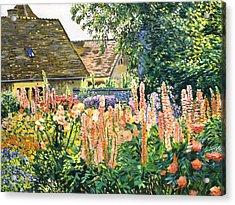 Hollyhocks Garden Acrylic Print