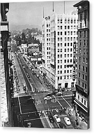 Hollywood And Vine In La Acrylic Print by Underwood Archives