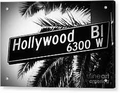 Hollywood Boulevard Street Sign In Black And White Acrylic Print by Paul Velgos