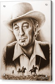 Hollywood Greats Mitchum Acrylic Print by Andrew Read
