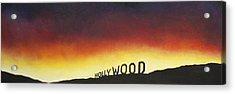 Hollywood On Fire Acrylic Print by Christine  Webb