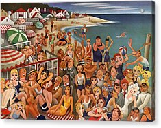 Hollywood's Malibu Beach Scene Acrylic Print by Miguel Covarrubias