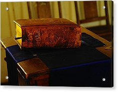 Holy Bible In Lincoln City Acrylic Print by Jeff Swan