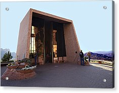 Holy Cross Or Red Rock Chapel Rear View Acrylic Print by Bob and Nadine Johnston