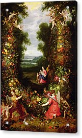 Holy Family In A Landscape With A Garland Of Fruit And Vegetables Panel Acrylic Print
