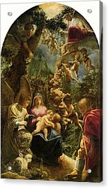 Holy Family With Angels Acrylic Print by Adam Elsheimer