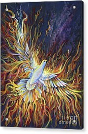 Acrylic Print featuring the painting Holy Fire by Nancy Cupp
