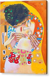 Homage To Master Klimt The Kiss Acrylic Print by Susi Franco