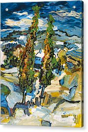 Homage To Van Gogh Two Poplars On A Road Through The Hills Acrylic Print