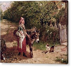 Home From Market Acrylic Print by Edgar Bundy