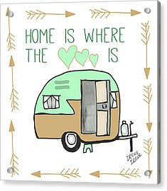 Home Is Where The Heart Is Campling Trailer Vintage Acrylic Print by Irene Irene