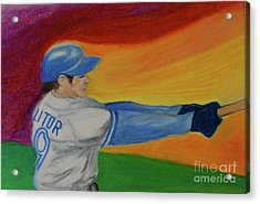 Acrylic Print featuring the drawing Home Run Swing Baseball Batter by First Star Art