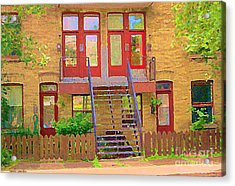 Home Sweet Home Red Wooden Doors The Walk Up Where We Grew Up Montreal Memories Carole Spandau Acrylic Print by Carole Spandau