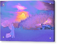 Acrylic Print featuring the painting Homebound Train Angel And A Suitcase by David Mckinney
