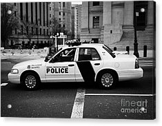 Homeland Security Federal Protective Service White Police Car Outside Courthouse New York City Acrylic Print by Joe Fox