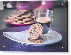Homemade Chocolate Cookies With A Hot Black Coffee Acrylic Print by Robin-Angelo Photography