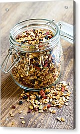 Homemade Granola In Glass Jar Acrylic Print by Elena Elisseeva