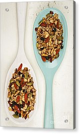 Homemade Granola In Spoons Acrylic Print by Elena Elisseeva
