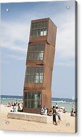 Homenatge A La Barceloneta - Artwork By Rebbeca Horn On A Beach In Barcelona Acrylic Print by Matthias Hauser