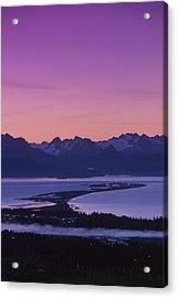 Homer Spit Sunset Kenai Mtns Kenai Acrylic Print by Jeff Schultz