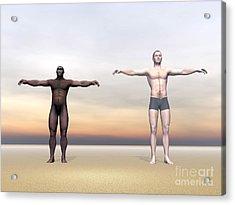 Homo Erectus Man Next To Modern Human Acrylic Print