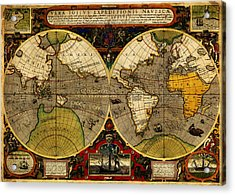 Hondius Map Of The World 1595 Acrylic Print by MotionAge Designs
