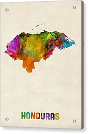 Honduras Watercolor Map Acrylic Print by Michael Tompsett
