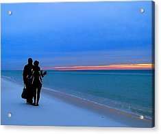 Honeymooners At Dawn On Pensacola Beach Acrylic Print
