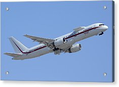 Honeywell Boeing 757 Engine Testbed N757hw Phoenix August 9 2013 Acrylic Print by Brian Lockett
