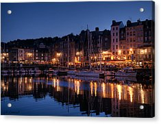 Honfleur At Night Acrylic Print by CR  Courson