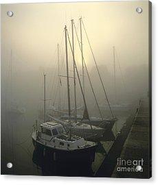 Honfleur Harbour In Fog. Calvados. Normandy Acrylic Print by Bernard Jaubert