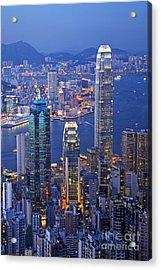 Hong Kong At Twilight Vertical Acrylic Print