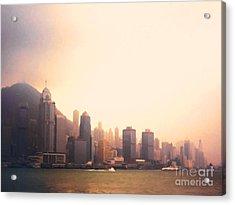 Hong Kong Harbour Sunset Acrylic Print by Pixel  Chimp