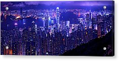 Hong Kong In Purple Acrylic Print