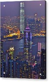 Hong Kong Night View At Victoria Peak Acrylic Print by Hisao Mogi
