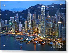 Hong Kong Skyline At Night Acrylic Print by Lars Ruecker