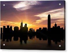 Hong Kong Sunset Skyline  Acrylic Print by Aged Pixel