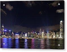 Hong Kong Symphony Of Lights Show Acrylic Print by David Gn