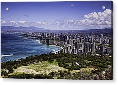 Honolulu From Diamond Head Acrylic Print by Joanna Madloch